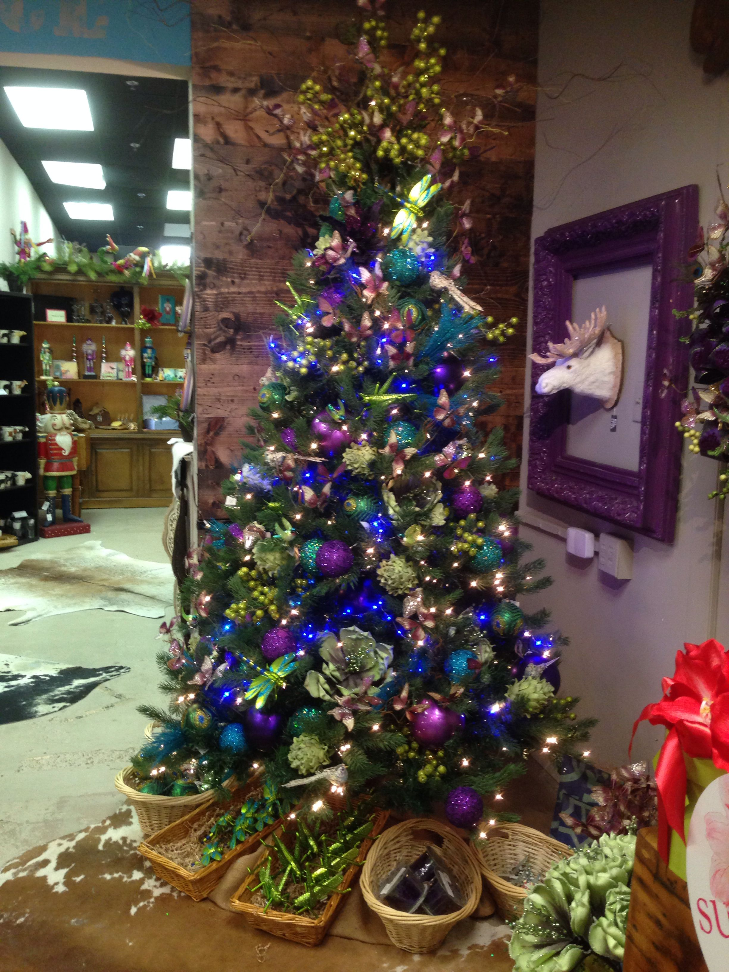 Purple And Blue Christmas Tree At One Posh Place In Grapevine Tx Myposhplace Com Blue Christmas Tree Holiday Christmas Tree Peacock Christmas Tree