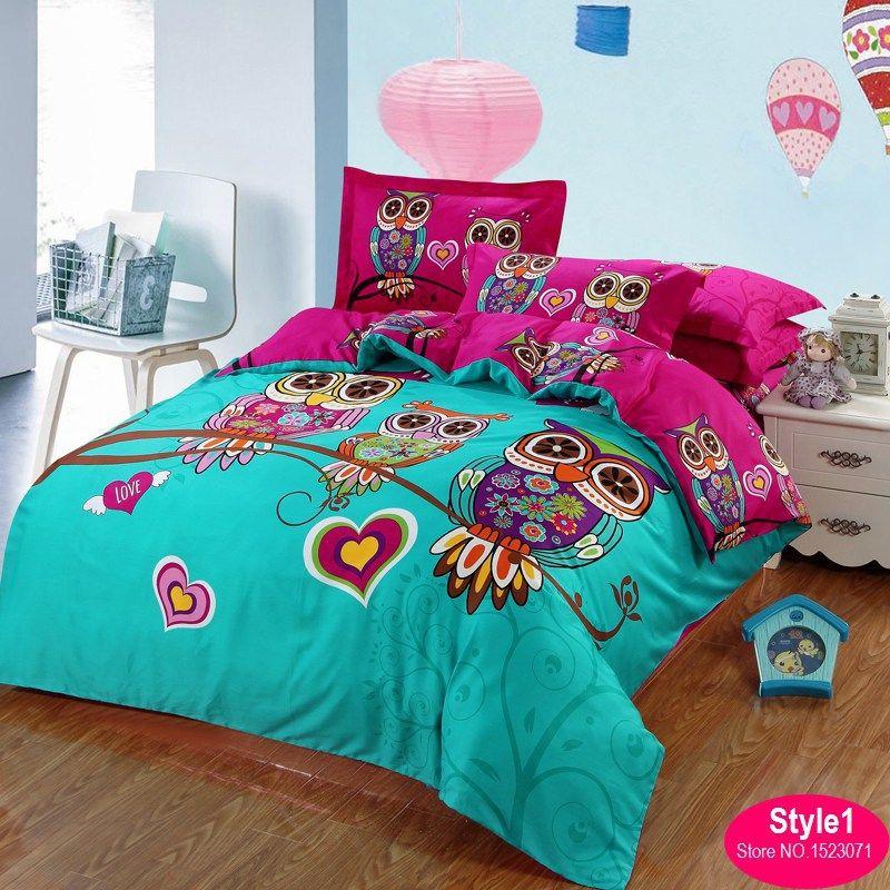 100cotton adult kids owl bedding set red rose 3d bedding sets