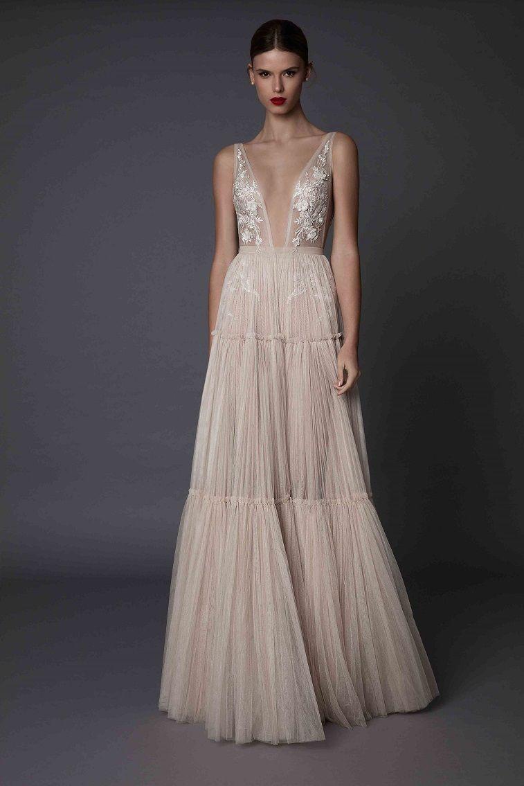 A line wedding dress ,plunging neckline wedding dress #weddingdress