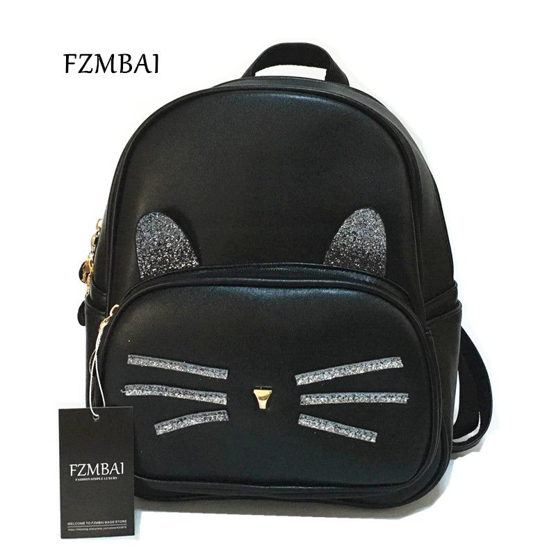 998e8f6370a4 Find More Backpacks Information about New Korean Kitty Backpack Female  Sequins Fresh College Girl Leisure Bag