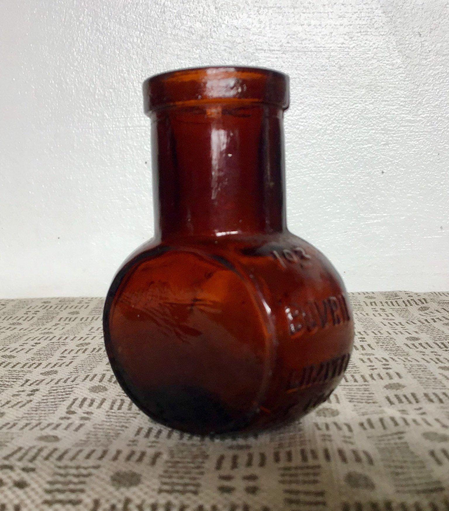 Antique Bovril Jar Rare 1oz Size Amber Glass Jar 1910 S Amber Glass Jars Glass Jars Amber Glass