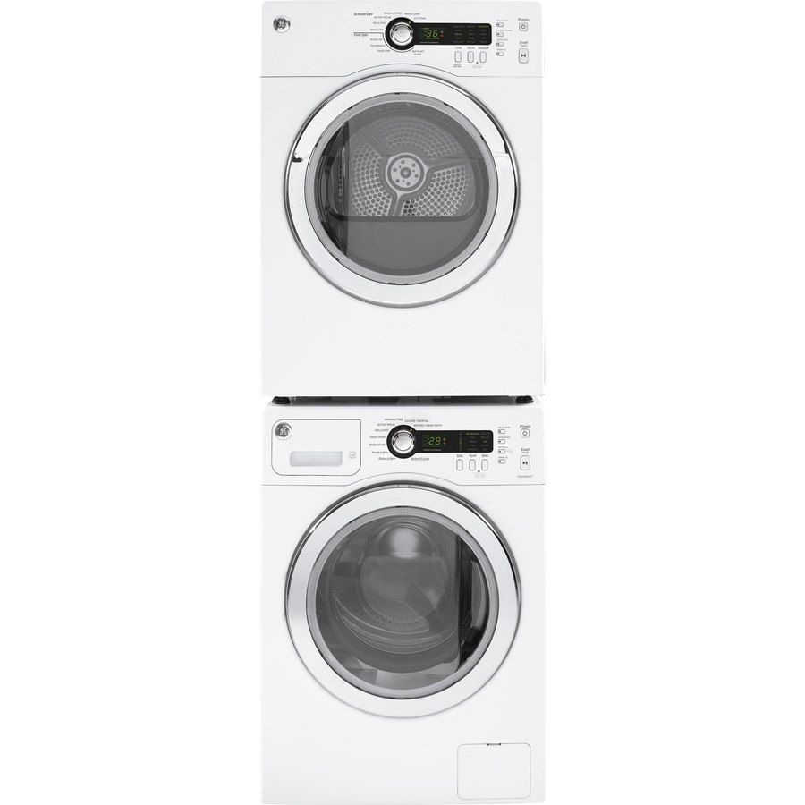 Ge 4 Cu Ft Stackable Electric Dryer White Lowes Com Stackable Washer And Dryer Laundry Room Storage Compact Laundry