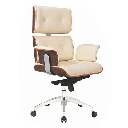 High Back Brown Leather Computer Office Chair Rolling and