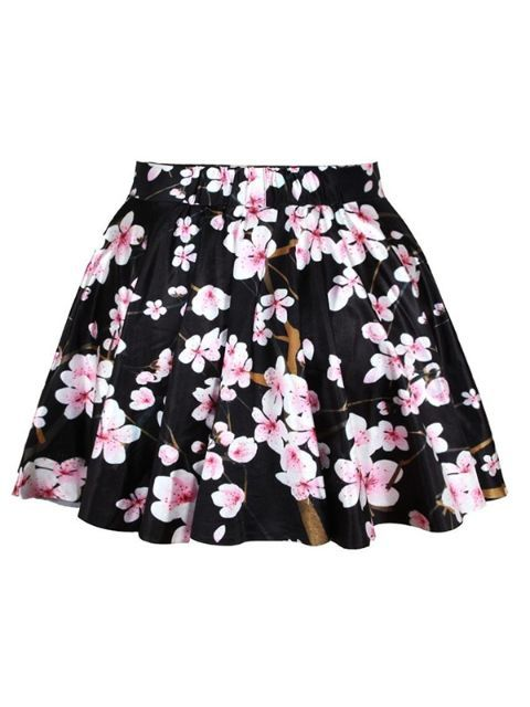 Vintage Rockability Cherry Blossom Print Short Mini Skirt Flared Pleated