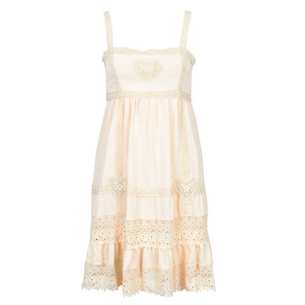 Cream Yumi Crochet Dress ($9.73) ❤ liked on Polyvore