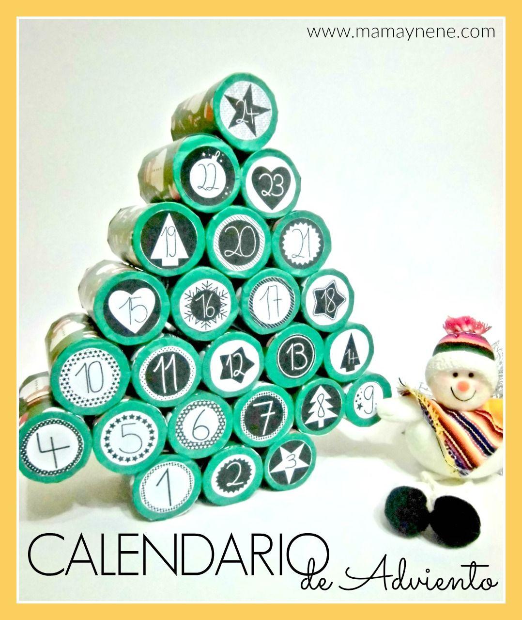 Calendario De Adviento Con Tubos De Papel Higi Nico Navidad  ~ Crismas De Navidad Hechos Por  Ninos