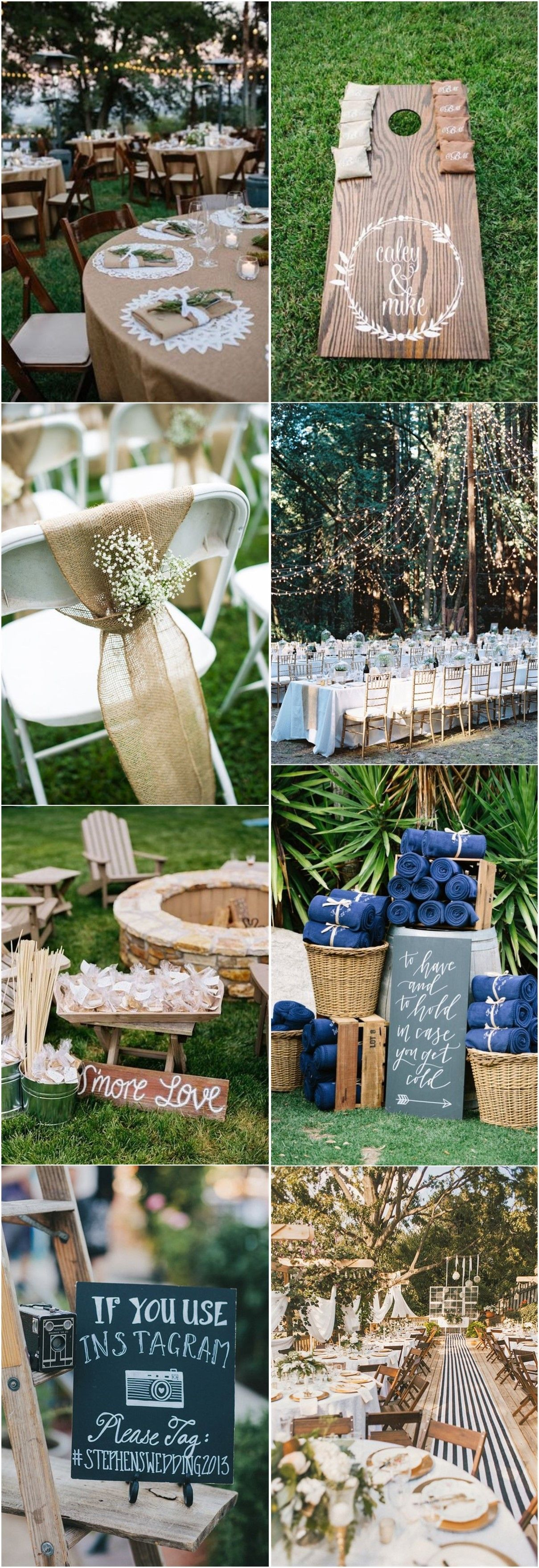 Ideas for wedding decorations outside   Rustic Backyard Wedding Decoration Ideas on A Budget in