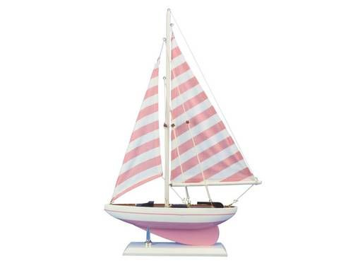 Wooden Pretty in Pink Model Sailboat 17""""