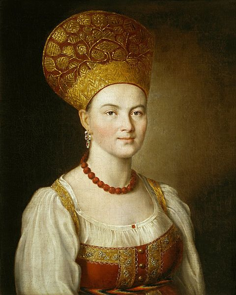 NOT Catherine the Great, NOR her mother Johanna Elizabeth of Holstein-Gottorp (who was dead before this was painted): Portrait of an unknown woman in Russian Costume, 1784, by Ivan Argunov. At the Tretyakov Gallery, Moscow. http://www.tretyakovgallery.ru/en/collection/_show/image/_id/398