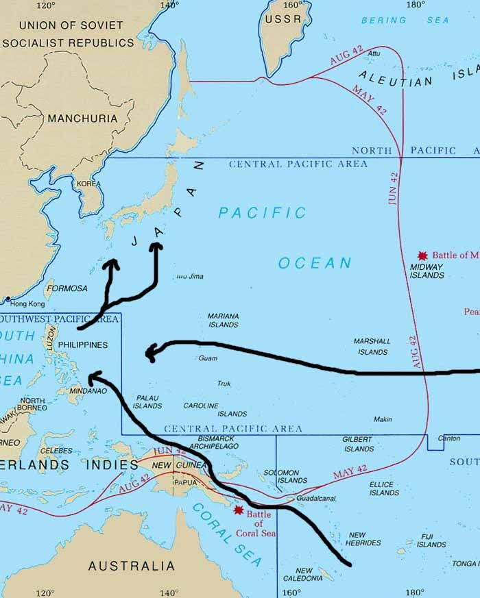 World War II Pacific Map | WW II Europe Naval | Pinterest | World ...