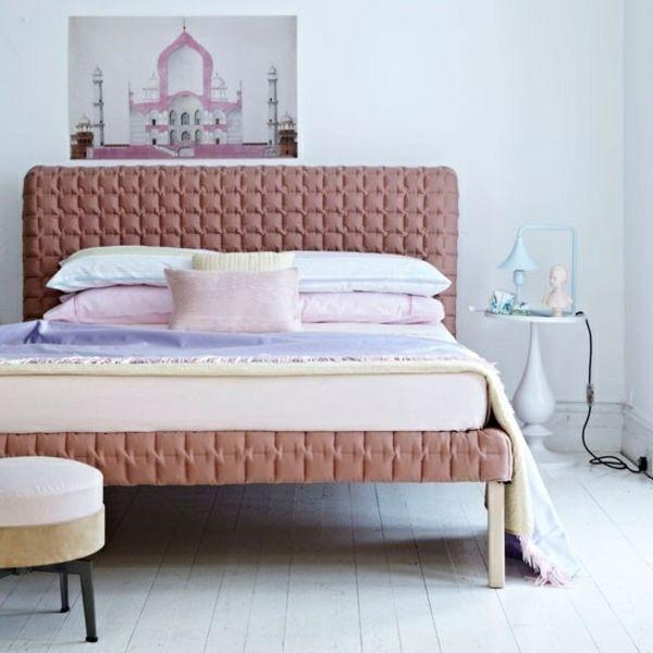 Schlafzimmer Wandgestaltung Deko Zeichnung Wand Doppelbett sz