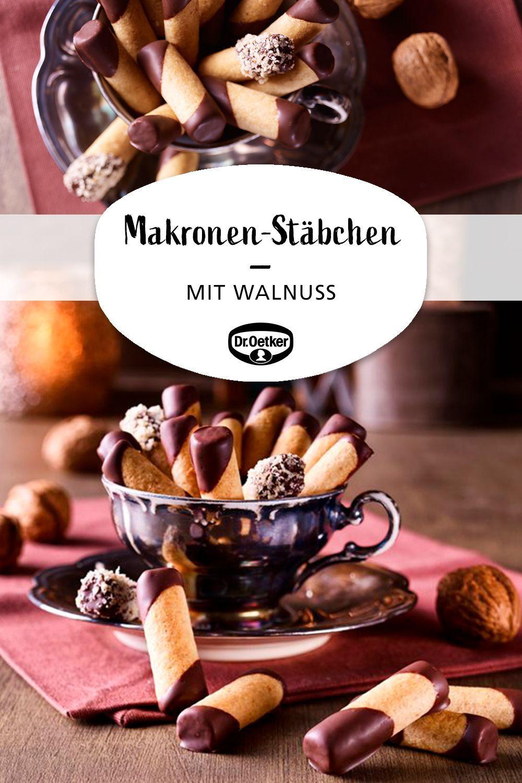 Walnut macaroons chopsticks  Walnut macaroon chopsticks marzipan macaroons with walnuts Season cookies