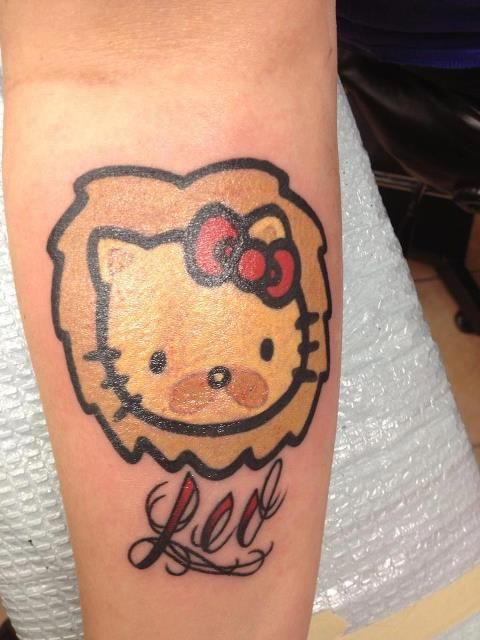 I Told My Man I Would Get This Because For 1 I Love Hk For 2 He S A Leo Hello Kitty Tattoos Hello Kitty Tattoos