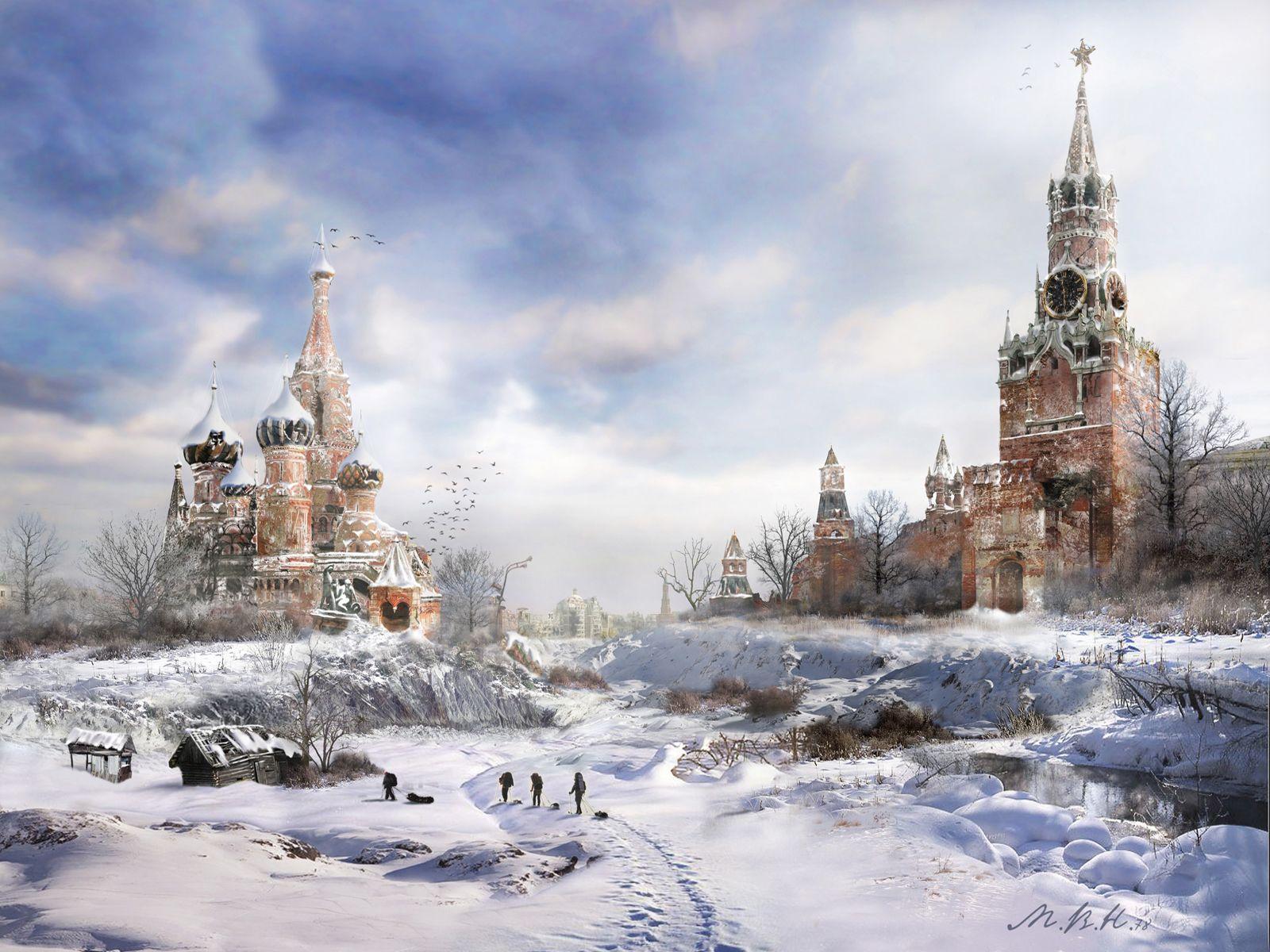 zerstörtes Moskau im Winter