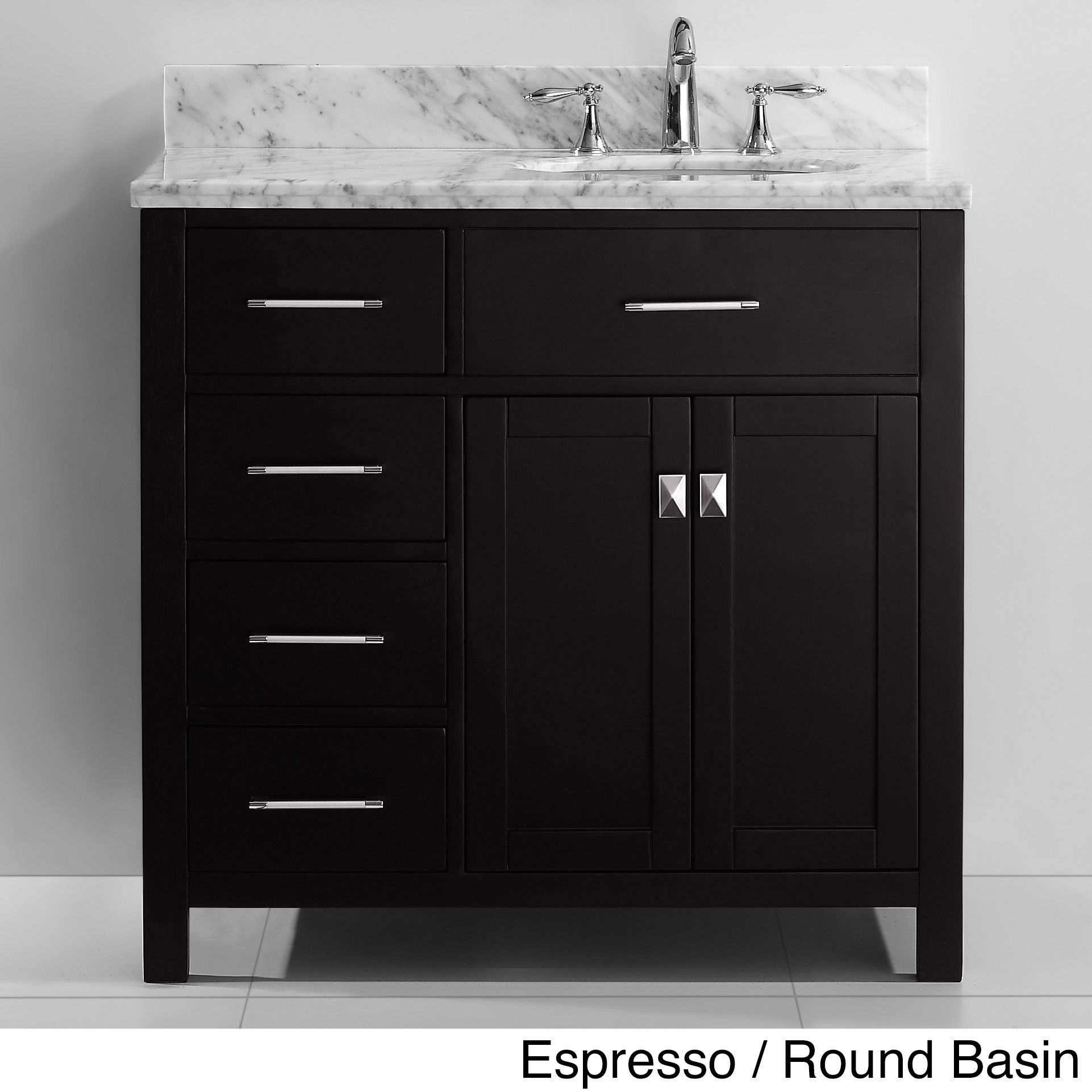Virtu Usa Caroline Parkway 36 Inch Single Sink Bathroom Vanity Set Available With Right Side Drawers 991