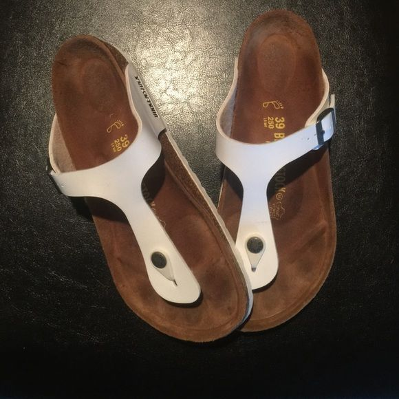 Birkenstock Sandals - White Brand new leather Birkenstock sandals. Worn once, size 39. Just don't really like the bright white on my feet. PRICE FIRM. Birkenstock Shoes Sandals