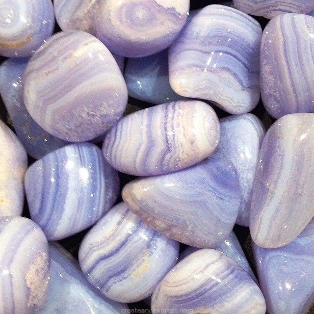 • Blue Lace Agate • Can activate and heal the throat chakra, facilitating free expressions of thoughts and feelings. It counteracts mental stress and anger. Its soft energy is cooling and calming, bringing peace of mind. ☮ Find these soothing stones at our unique boutique Create & Express | 111 Eucalyptus Drive | El Segundo, CA
