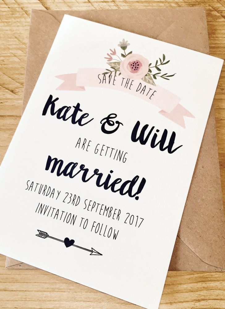 Personalised Wedding Save the Date Cards Party Invitations Shabby ...