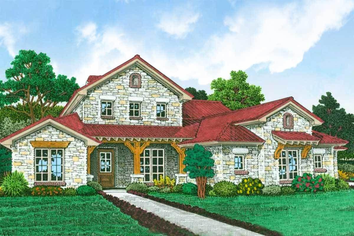 Plan 48587fm Exclusive 4 Bed European Cottage Plan With Split Beds Plan Maison Maison Plans
