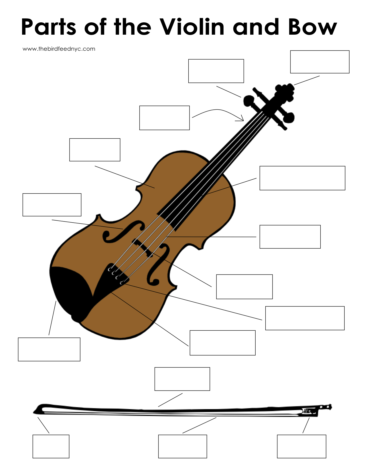 Music Activity Sheet Parts Of The Violin And Bow Blank