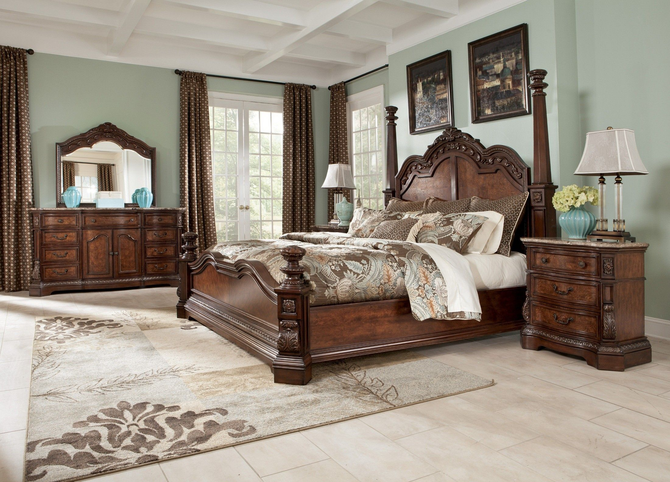 Ashley Furniture cherry wood 4 poster bed King bedroom