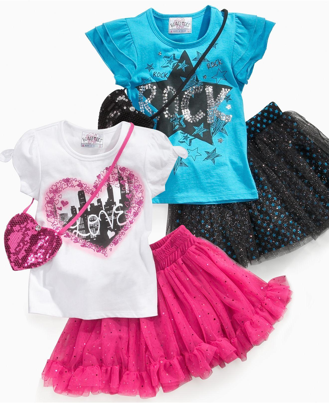 47426cbec371f Beautees Kids Set, Little Girls Shirt and Tutu Skirt with Purse - Kids -  Macy's