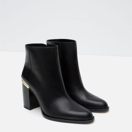 BLOCK HEEL LEATHER ANKLE BOOTS WITH