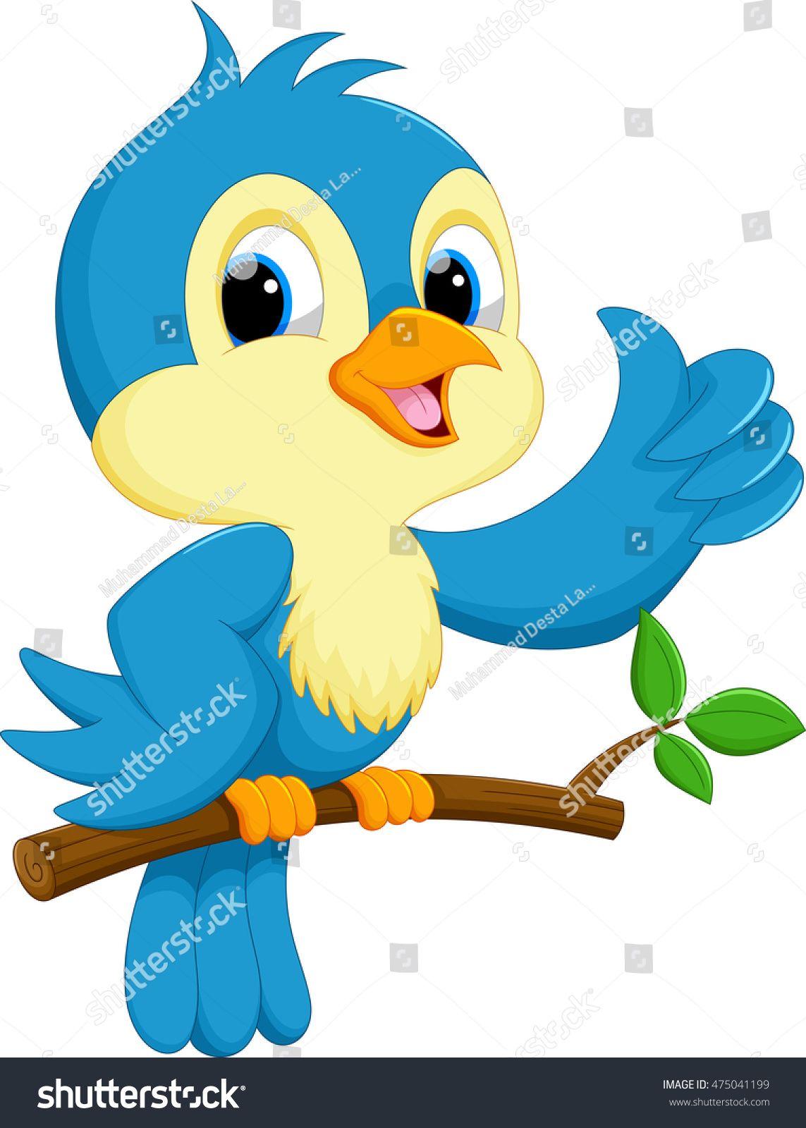 Cute Blue Bird Cartoon Passaros Fofos Desenhos De Aves Pinturas De Passaros