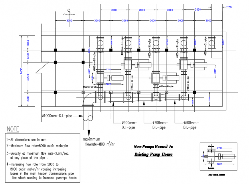 Existing New Pump House Plumbing Structure Details Dwg File Pump House Plumbing Roof Detail