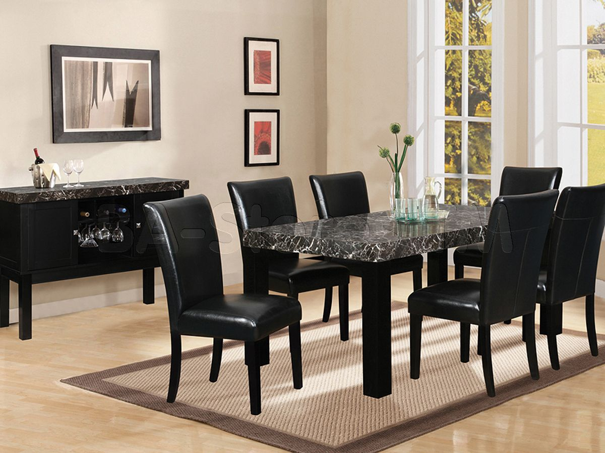 7 piece black marble dining table  Black Dining Room Set Table with Faux Marble