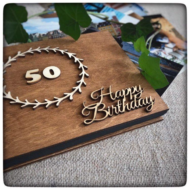 50th birthday scrapbook wooden photo album birthday gift