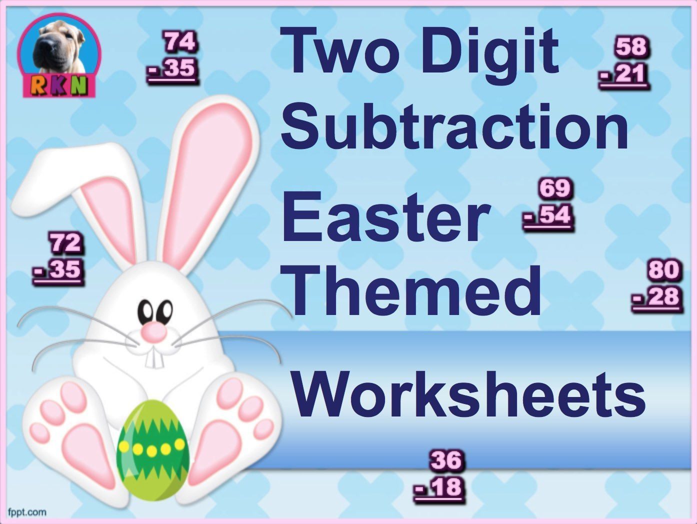 Two Digit Subtraction Worksheets - Easter Themed - Vertical | Power ...
