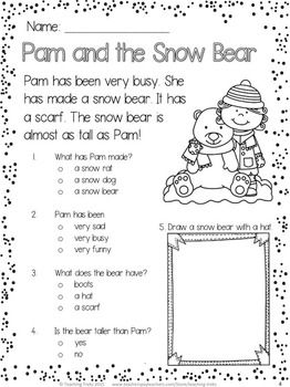 free winter reading comprehension passage pam and the snow bear ideas for the classroom. Black Bedroom Furniture Sets. Home Design Ideas