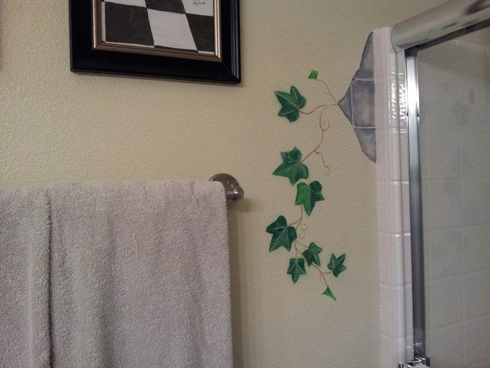 Hand Painted Bricks and Ivy