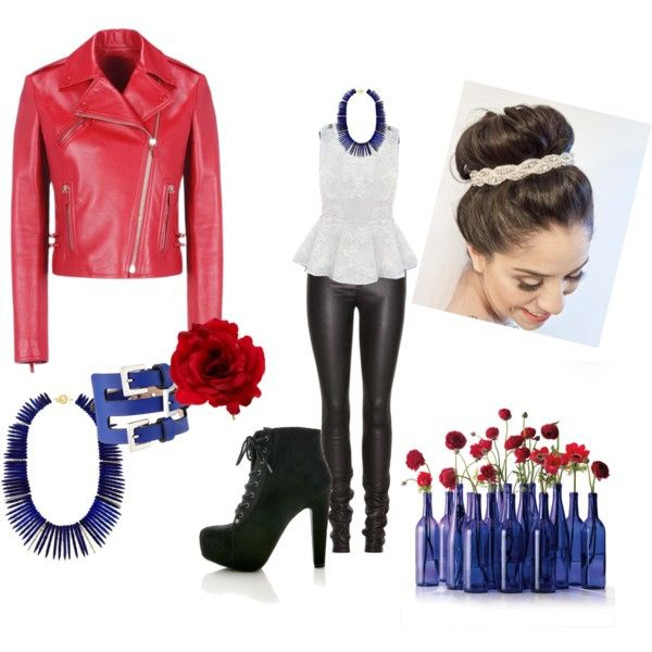 Red Flower, Blue Thorns by chapple-courtney on Polyvore featuring polyvore, fashion, style, Valentino, Helmut Lang, Alexander McQueen, Janna Conner and Accessorize