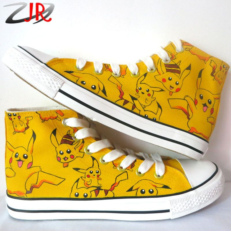 (Buy here: http://appdeal.ru/1so1 ) YJR Cartoon Character Pikachu Student Graffiti Canvas Shoes Hi-Top Lace-Up Anime Pokemon Hand Painted Flat Shoes for Boys Girls for just US $67.98