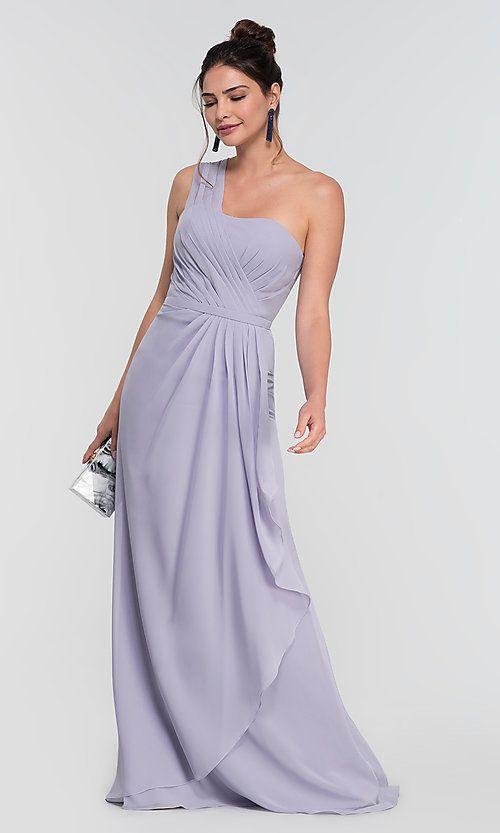 899bc60fb76 Image of Kleinfeld one-shoulder long chiffon bridesmaid dress. Style   KL-200124 Detail Image 1