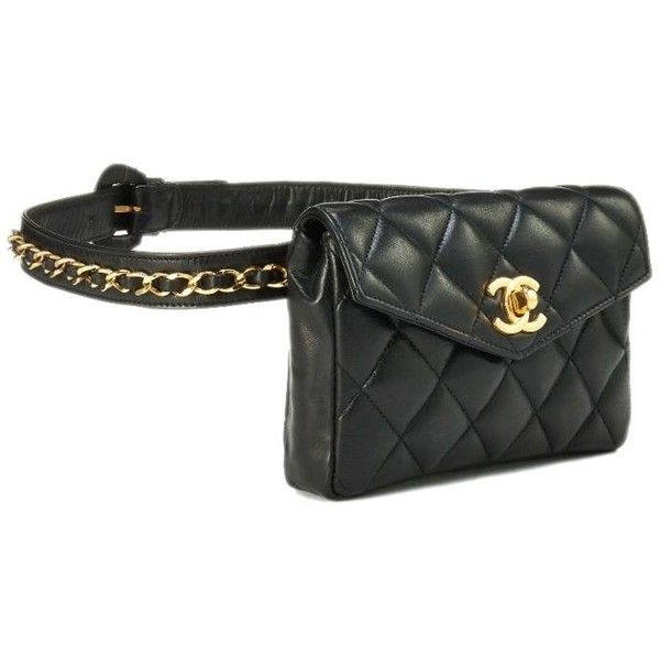 890212cbf Black Quilted Lambskin Belt Bag 30 ❤ liked on Polyvore featuring bags, belt  bag, belt fanny pack, waist bags, quilted bag and bum bag
