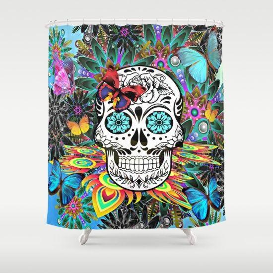 Sugar Skull Tropical Abstract Shower Curtain By Sweet Calavera Society6 Sugar Skull Shower Curtain Skull Shower Curtain Abstract Shower Curtain