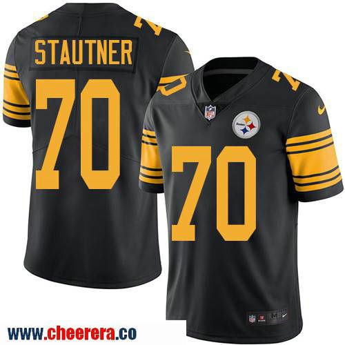 Men's Pittsburgh Steelers #70 Ernie Stautner Retired Black 2016 Color Rush Stitched NFL Nike Limited Jersey