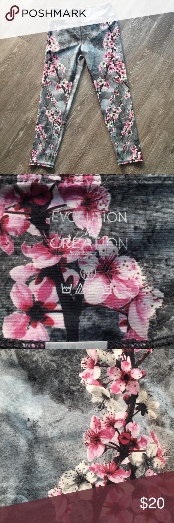 48d2fc9e5febc 🎉Evolution Creation EvCr Cherry Blossom Leggings Brand new, worn once.  Medium Evolution and
