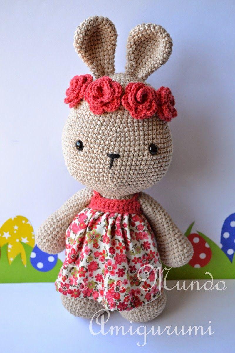 Es un Mundo Amigurumi: Patrón Coneja con Flores | Crochet ...