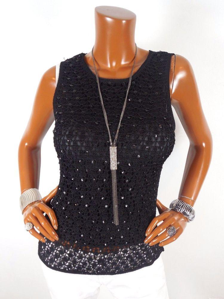 PAPELL BOUTIQUE Womens Top L SEXY Crochet Sequin Black Blouse Dressy Shirt #PAPELLBOUTIQUE #Blouse #Casual