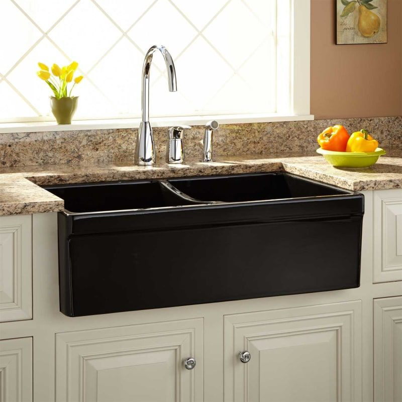 Signature Hardware 407299 Black 33 Fiammetta Double Bowl Fireclay Farmhouse Sink Belted Apron Black In 2020 Fireclay Farmhouse Sink Farmhouse Sink Farmhouse Sink Kitchen
