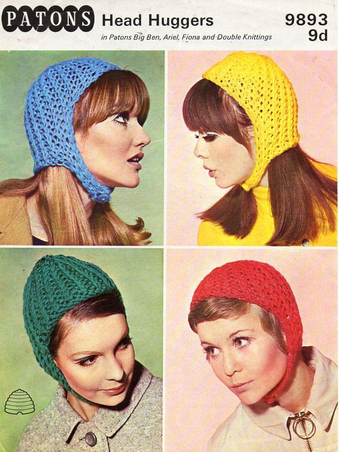 659116f889a ladies hats knitting pattern PDF womens helmets caps Vintage 70s chunky  aran or DK