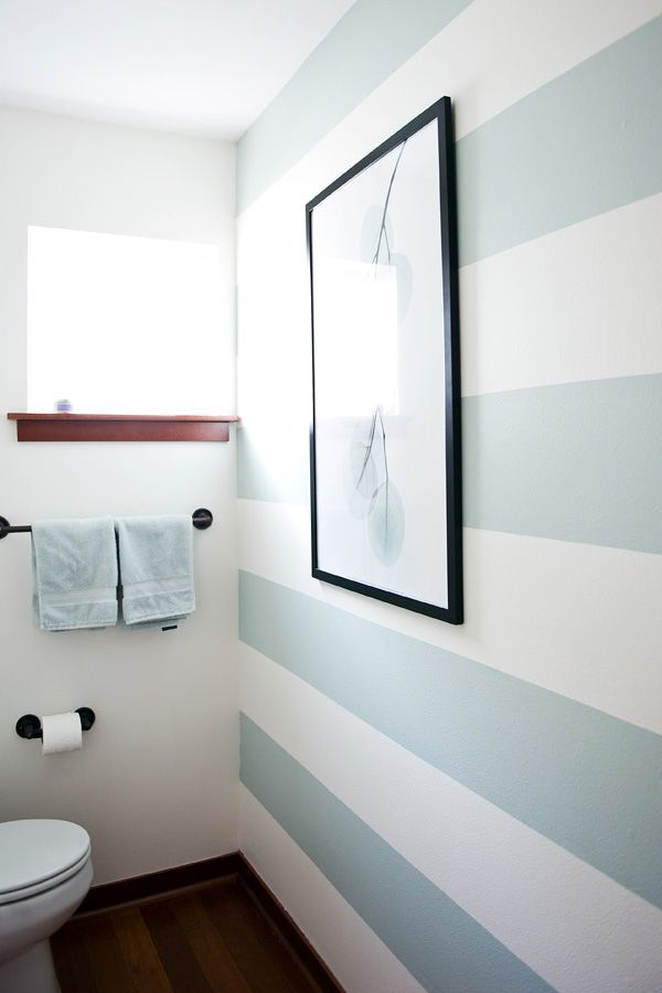 Finally Did Stripes In The Half Bath Inspired By Many Ideas On This Board They Make Me Very Happy Half Bathroom Decor Striped Walls Painting Bathroom