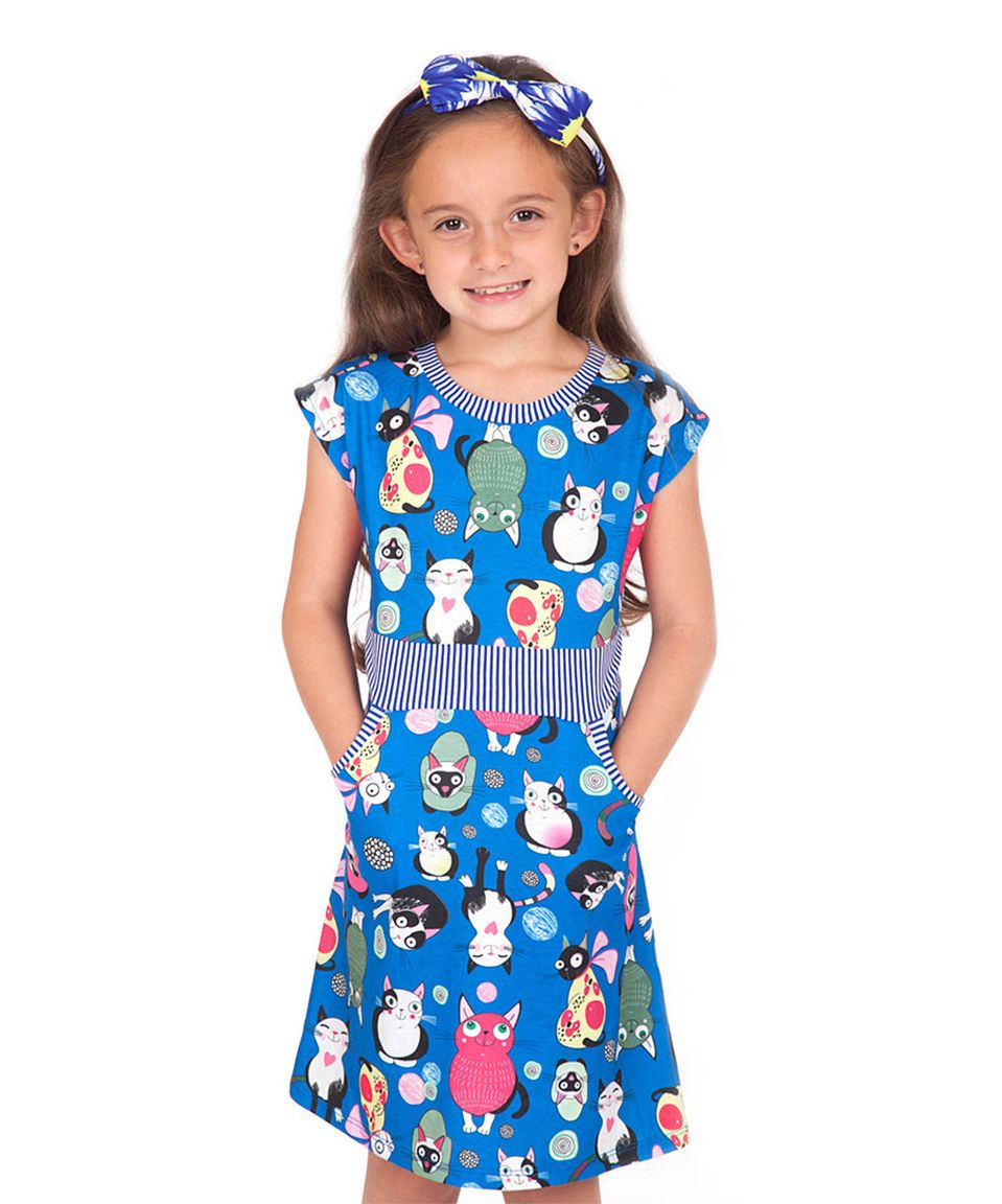 9bc6fb1a26a0 Loving this Sunshine Swing Blue Cats Dress - Toddler & Girls on #zulily!  #zulilyfinds