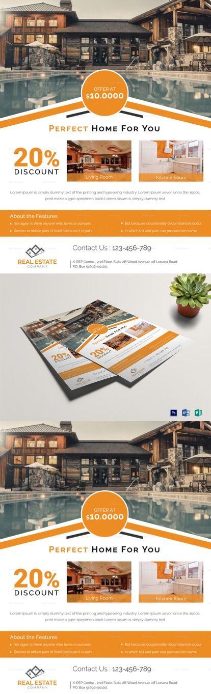 Orange Real Estate Flyer Template Real Estate Flyers Flyer