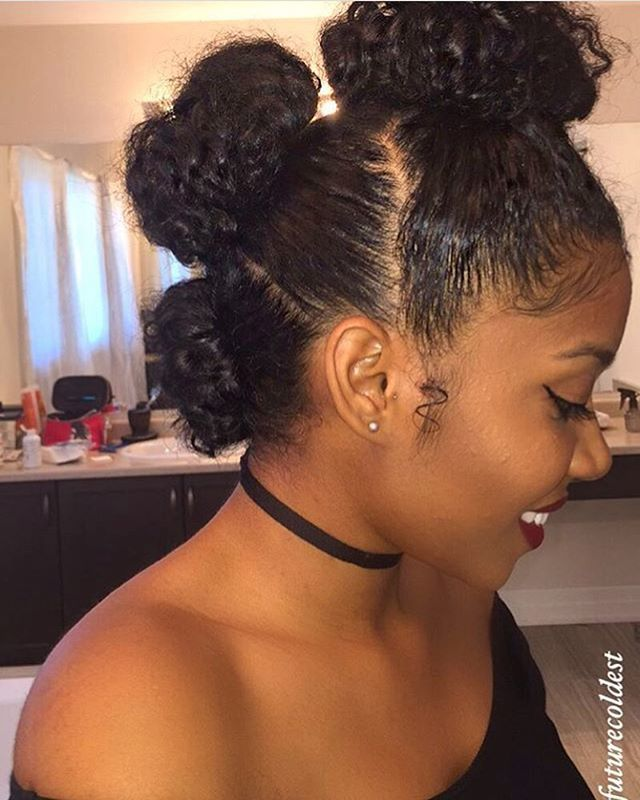 Cute 3 bun hairstyle   Hair inspo in 2019   Natural hair ...