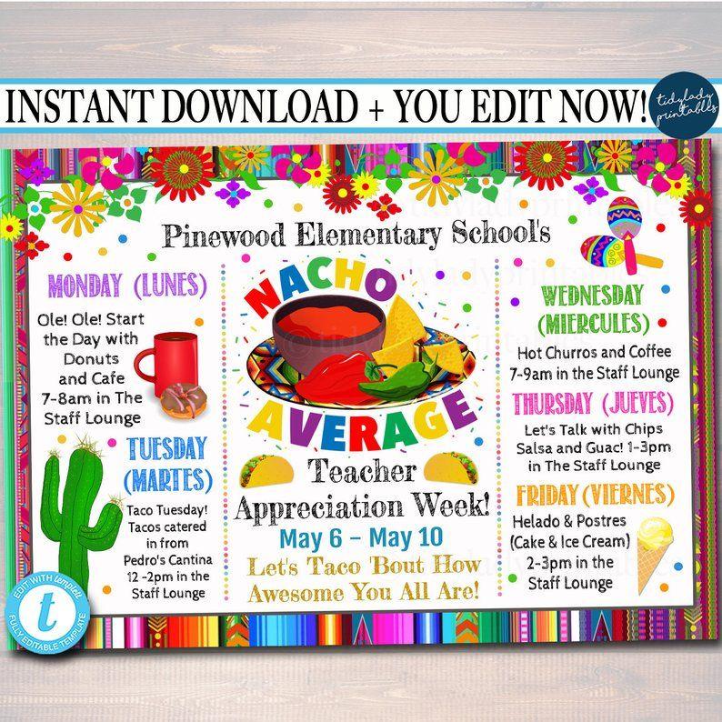 Nacho Average Fiesta Themed Cinco De Mayo Printable Teacher Staff Appreciation Week Template Inv Teacher Appreciation Week Staff Appreciation Week Fiesta Theme